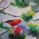 ハワイの絶滅寸前の鳥。ハワイミツスイ。自然を愛する心で描く絵画。
